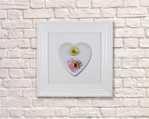 Small Heart Dessert White 55cm Frame  3D Artwork